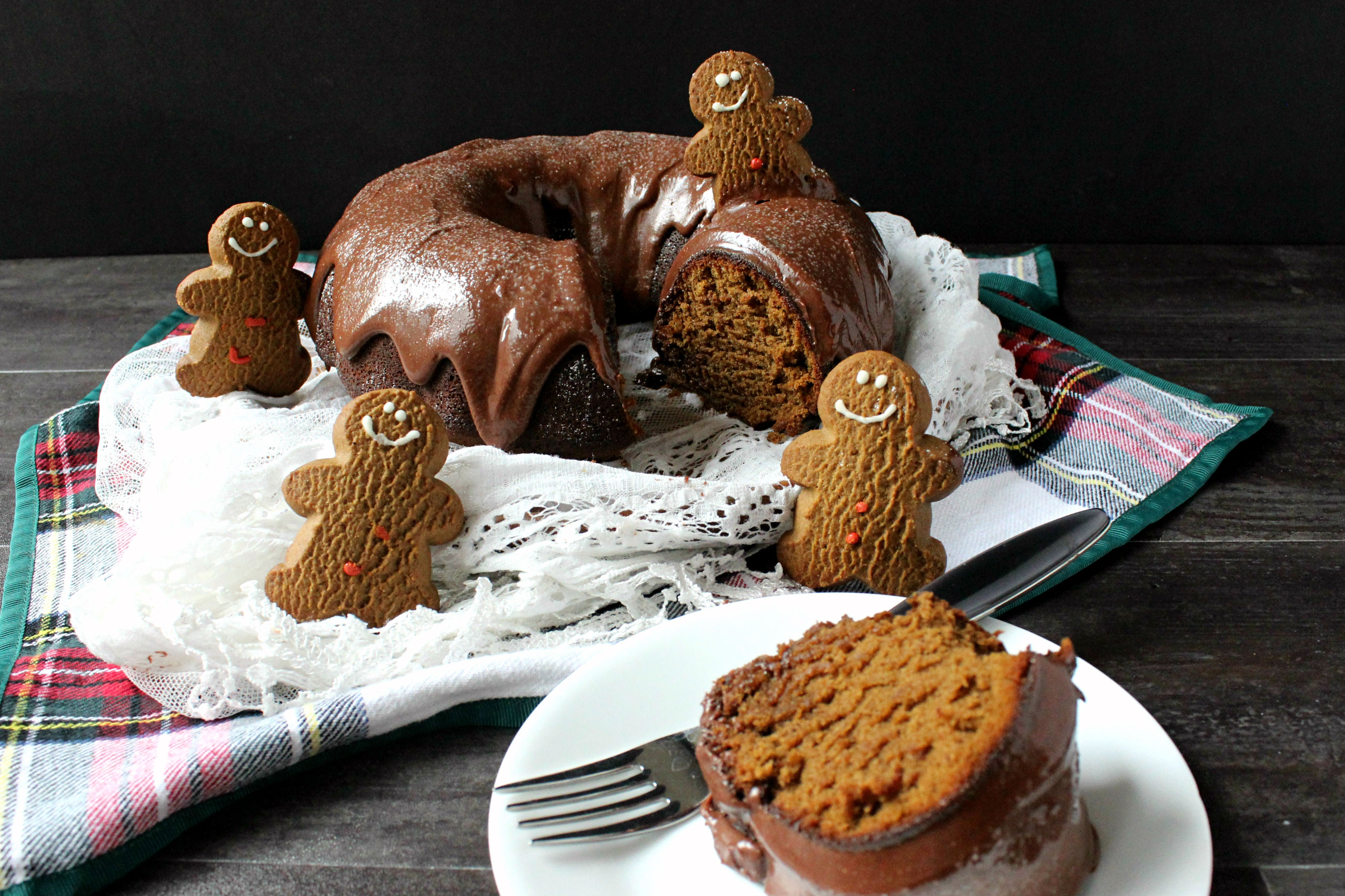 Dark Chocolate Dreams Peanut Butter Gingerbread Bundt Cake Finished 3