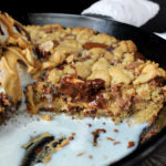 White Chocolate Wonderful Peanut Butter Stuffed Skillet Cookie Finished