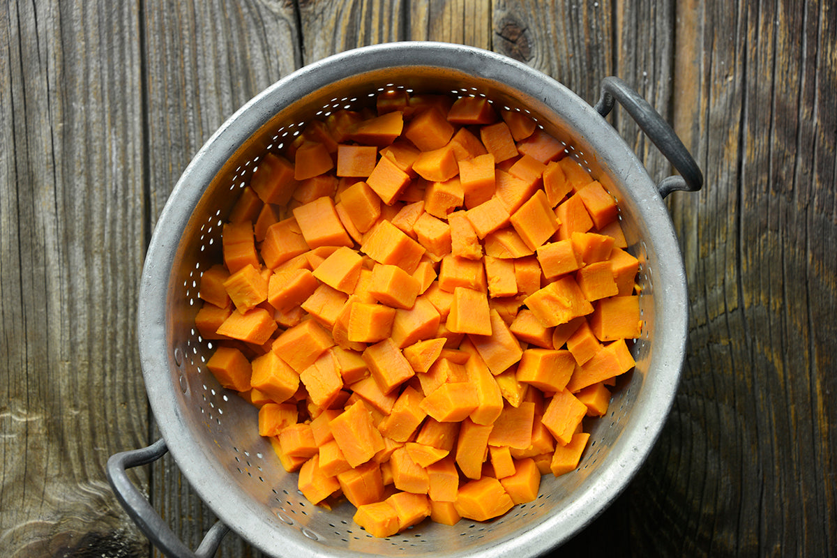Peanut Butter Sweet Potato Casserole with Marshmallow Topping - cook the potatoes with the lid ajar