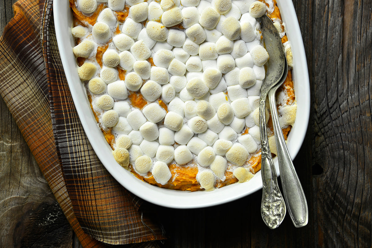 Peanut Butter Sweet Potato Casserole with Marshmallow Topping