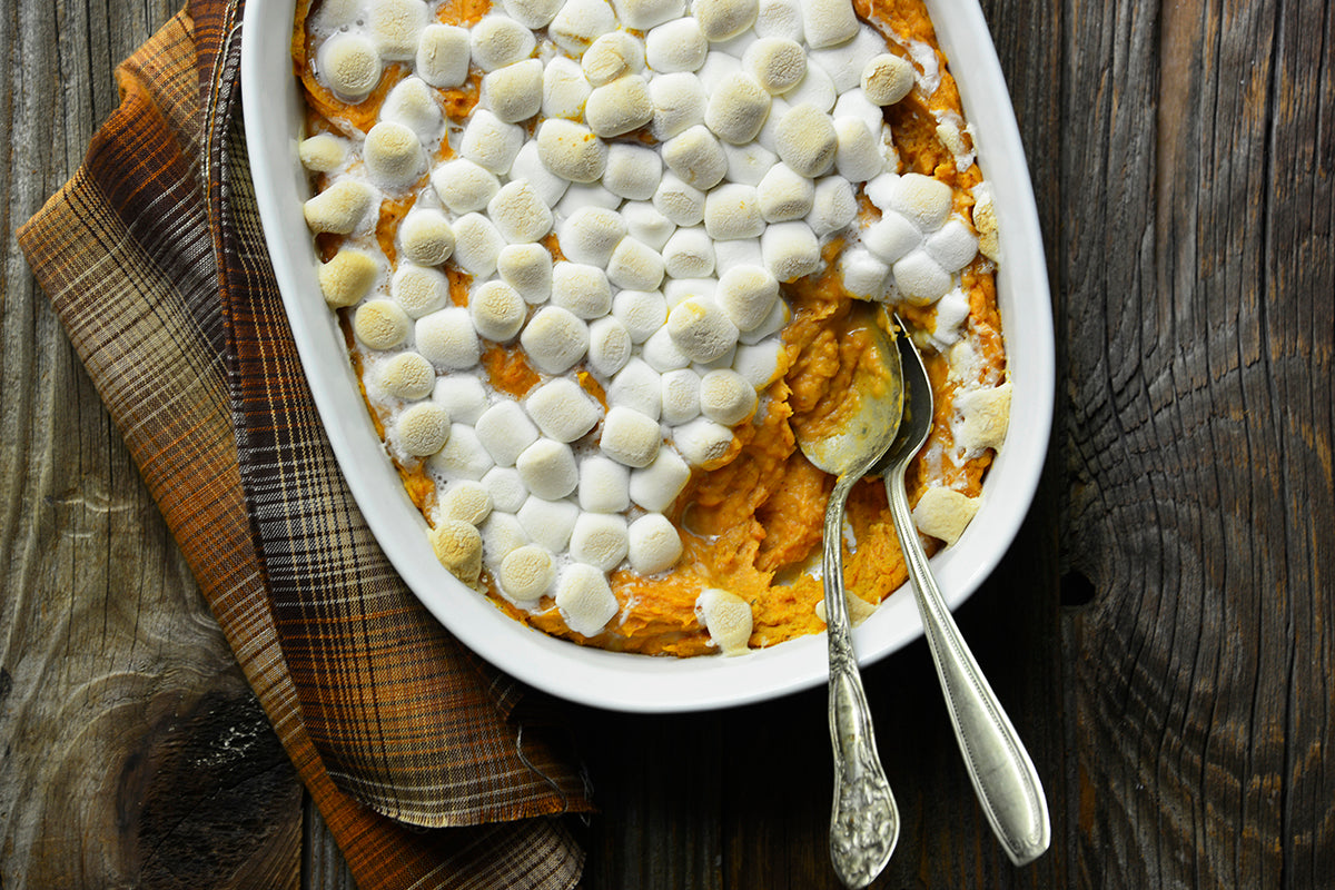 Peanut Butter Sweet Potato Casserole with Marshmallow Topping - Bake until the potatoes are hot throughout