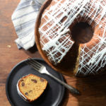 Peanut Butter Bundt Cake with Dark Chocolate Chips and White Chocolate Glaze