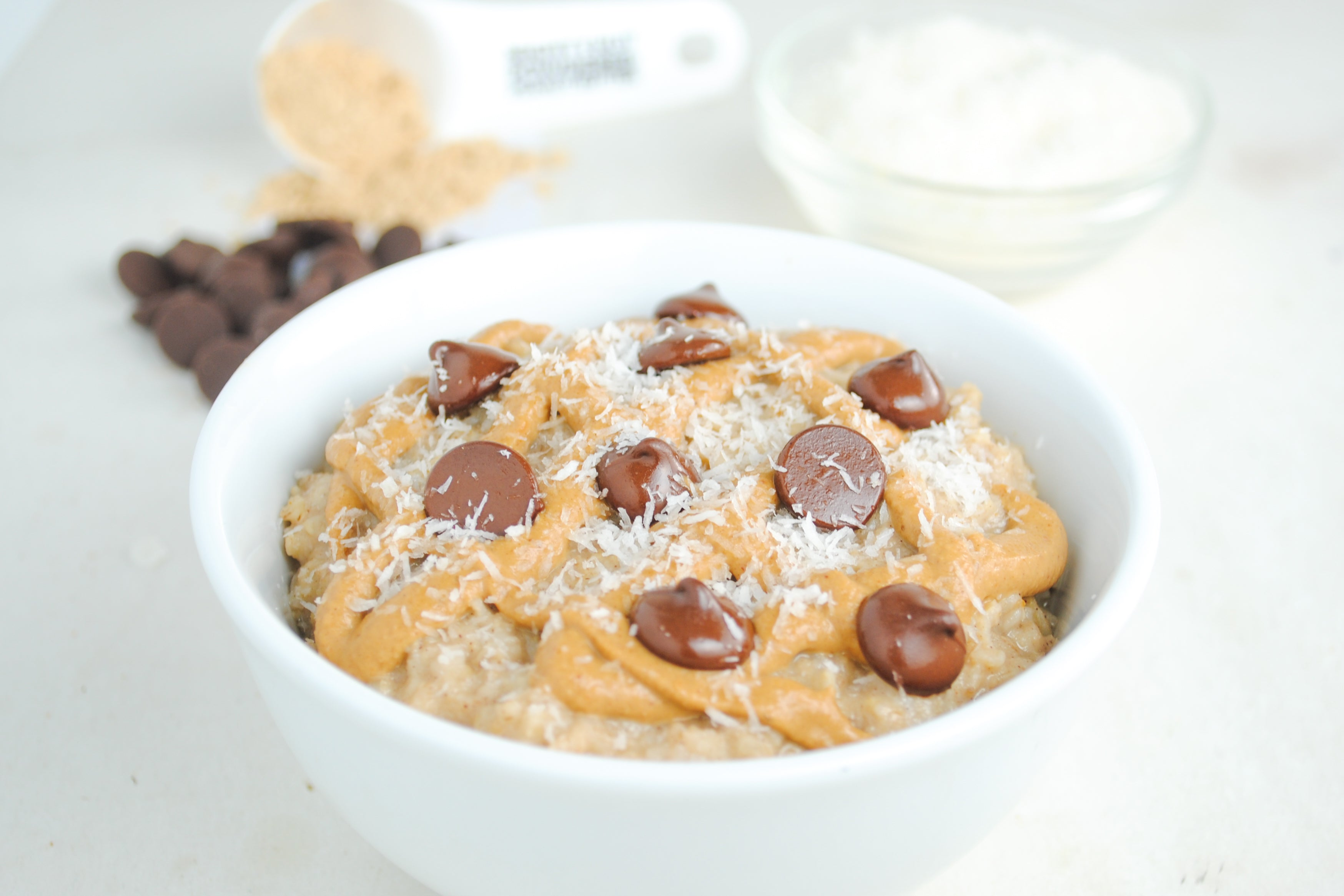 Coconut Peanut Butter Chocolate Chip Oatmeal