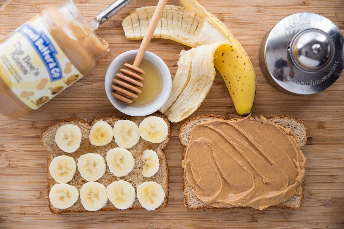 Peanut Butter, Banana & Honey Crustless Sandwich - spread your coordinating toppings