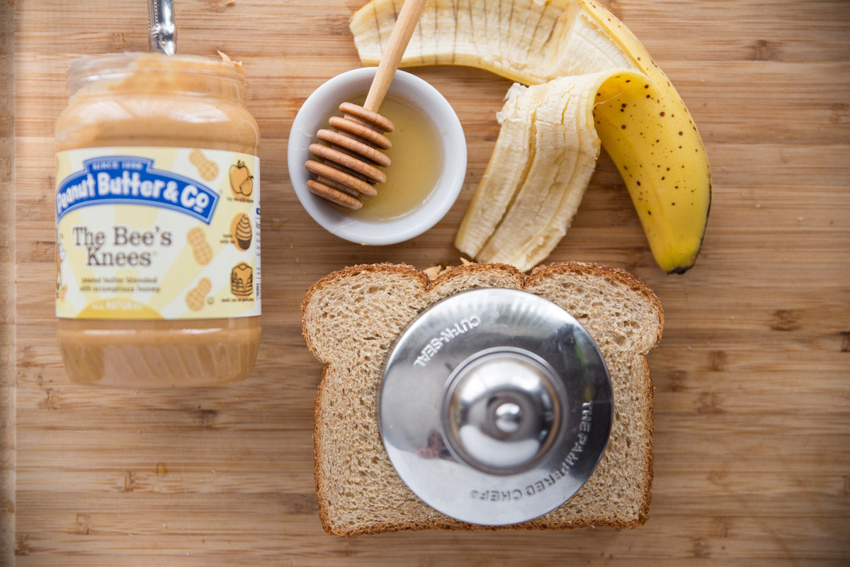 Peanut Butter, Banana & Honey Crustless Sandwich Ingredients - Put the pastry press over the center of the sandwich and firmly press.