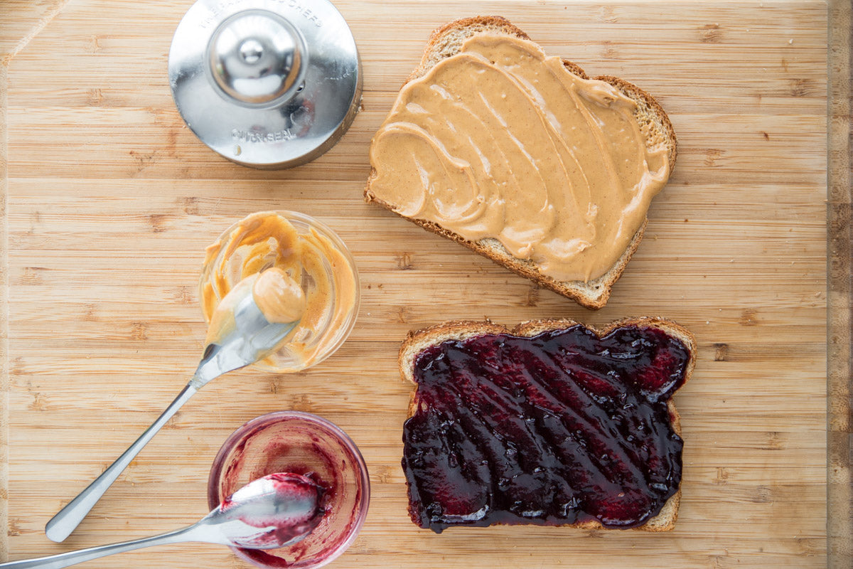 Peanut Butter & Jam Crustless Sandwich - spread your coordinating toppings