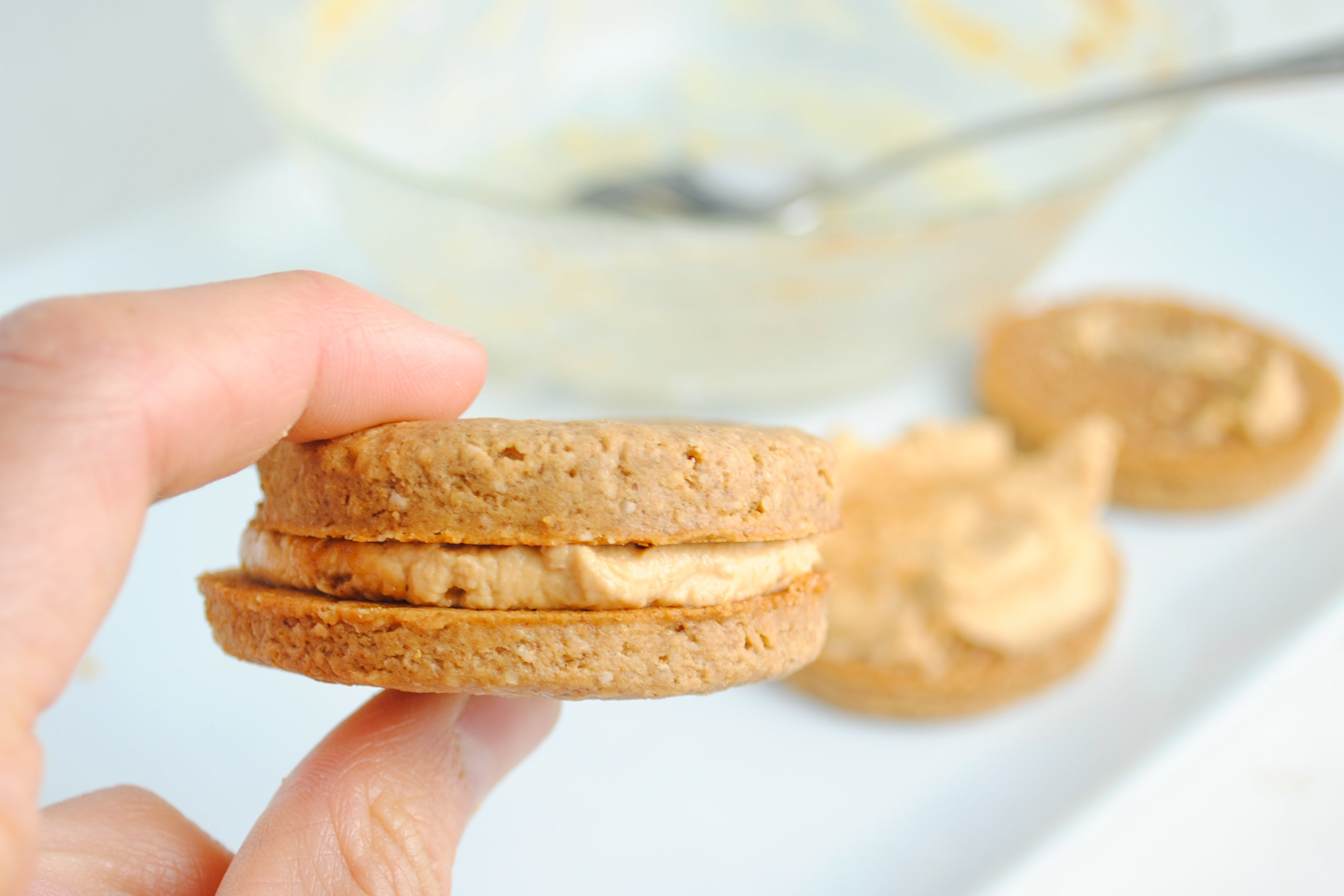 Double Peanut Butter Sandwich Cookies - Gently press another cookie on top of each