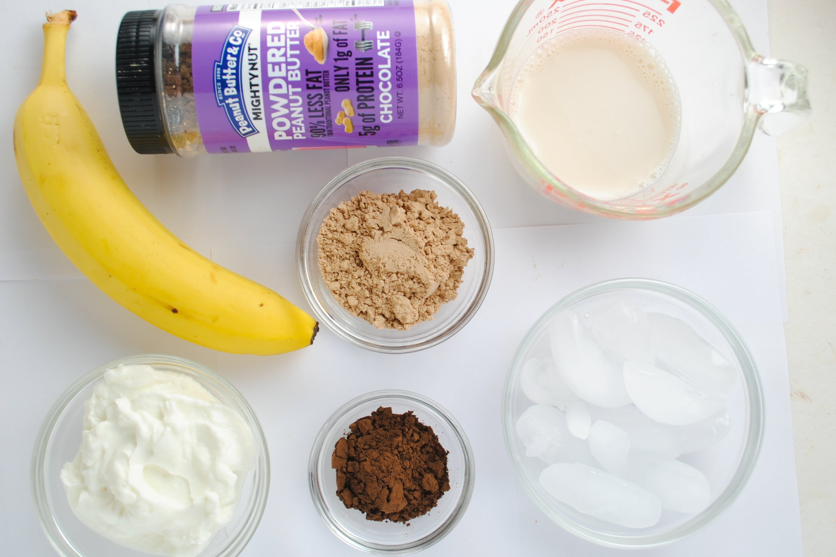 Chocolate Peanut Butter Banana Smoothie Ingredients - Mighty Nut Chocolate powdered peanut butter