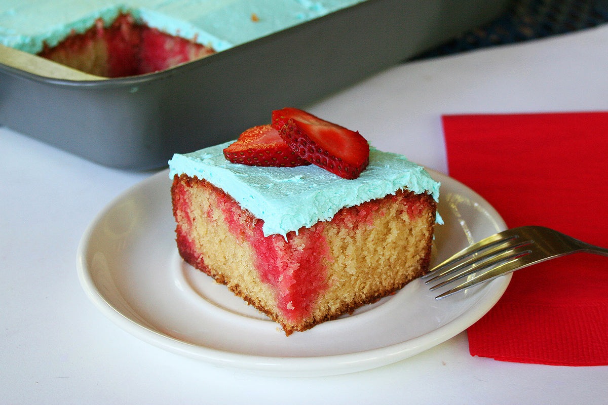 Peanut Butter and Jelly Poke Cake