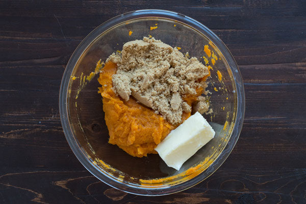 Sweet Potato Peanut Butter Pie - Add the butter and brown sugar