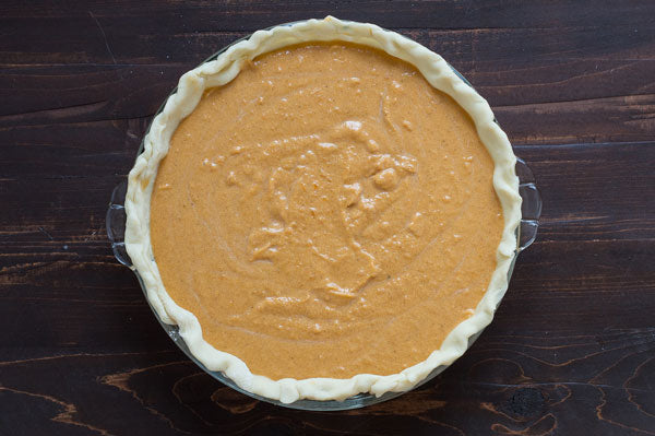 Sweet Potato Peanut Butter Pie - Add the pie filling to the pie