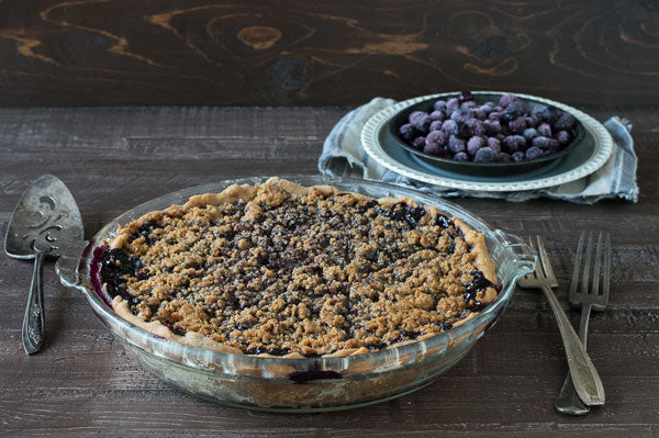 Gluten Free Peanut Butter Streusel Blueberry Pie - allow the pie to cool for 1-2 hours