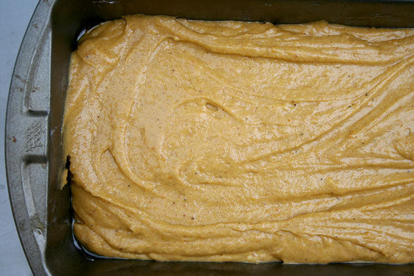 Pumpkin Spice Peanut Butter Bread - Pour the batter in the prepared pans
