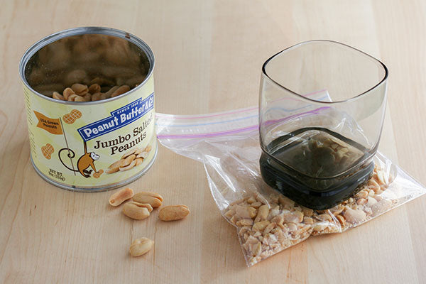 Peanut Butter Yogurt Parfaits - Place the jumbo salted peanuts in a plastic bag and use a heavy bottomed glass to crush them into smaller pieces