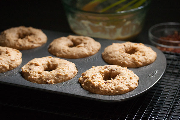Maple Peanut Butter Donuts with Bacon Bits - Bake in preheated oven for about 8-12 minutes