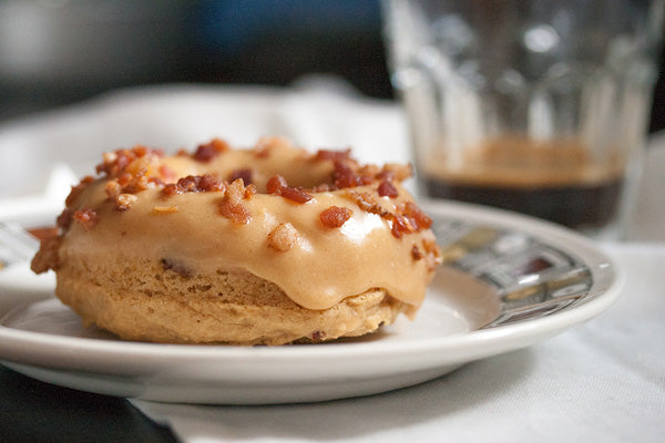 Maple Peanut Butter Donuts with Bacon Bits