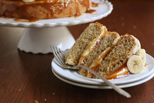 Peanut Butter Caramel and Banana Layer Cake