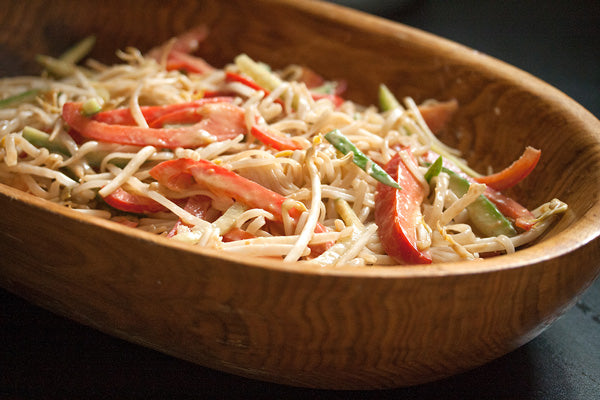 Vermicelli Salad with Grilled Shrimp & Ginger-Peanut Butter Dressing - toss together the noodles with the cucumber, red pepper, green onion and bean sprouts
