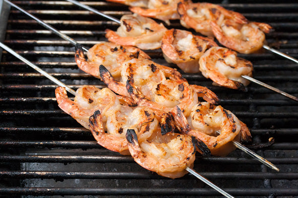 Vermicelli Salad with Grilled Shrimp & Ginger-Peanut Butter Dressing - Arrange on the hot grill and cook for 3-4 minutes per side