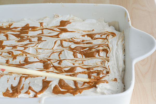 Peanut Butter Swirl Marshmallows - use a toothpick or chopstick to pull it into swirls along the top