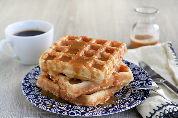 Yeasted Peanut Butter Waffles with Peanut Butter Syrup