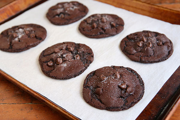 Peanut Butter Stuffed Chocolate Cookies - Let cool on the pan 5 minutes