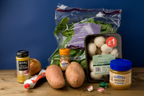 Peanut Buttery Sweet Potato, Spinach & Mushroom Stew ingredients - Peanut Butter & Co. Old Fashioned Smooth Peanut Butter