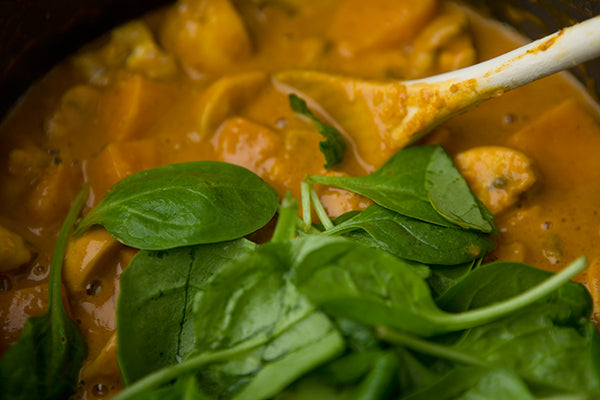 Peanut Buttery Sweet Potato, Spinach & Mushroom Stew - Roughly shred the spinach leaves. Add the mushrooms and spinach to the stew and cook for 5 minutes