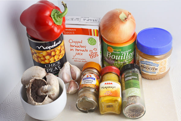 Spicy Peanut Butter Chickpea Soup ingredients
