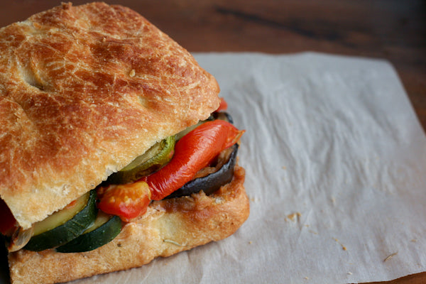 Roasted Vegetable Sandwich with Garlic Peanut Butter Spread