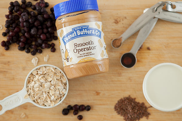 Overnight Blueberry Peanut Butter Oatmeal Ingredients