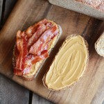 Place 4 slices bacon onto of the peanut butter