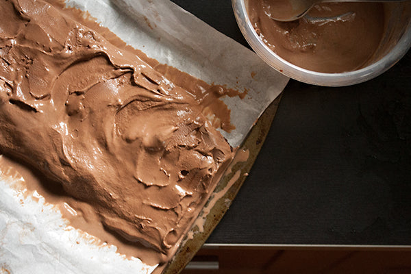 spread the ice cream in a smooth, even layer onto the brownie