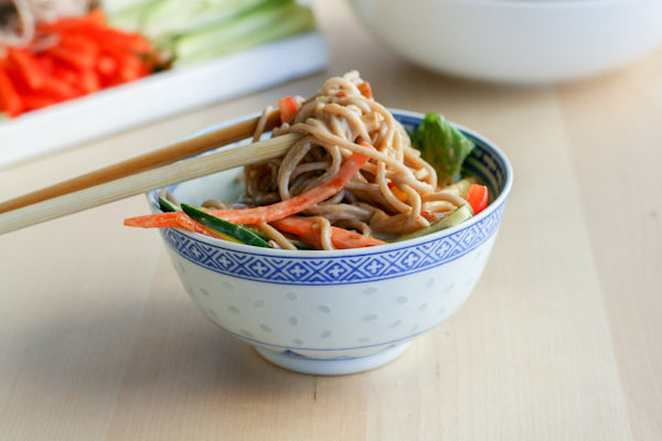Soba Noodle and Vegetable Platter with Peanut Butter Sauce