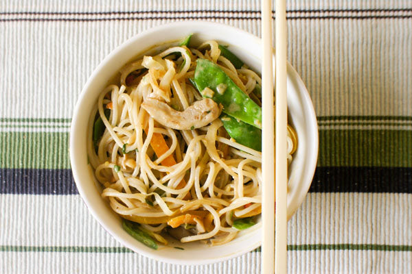 Spicy Chicken & Sesame Noodle Salad with Peanut Butter Sauce