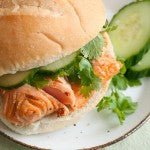 Grilled Peanut Butter-Glazed Salmon and Cucumber Sandwiches