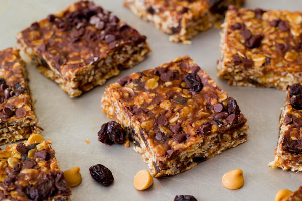 Chewy Maple Peanut Butter Granola Bars - Cut bars into squares.
