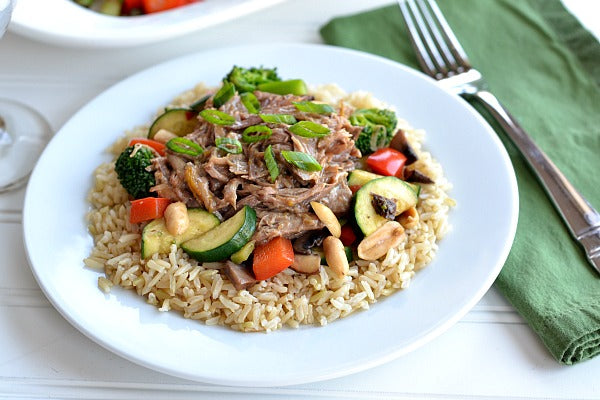 Slow Cooker Asian-Inspired Peanut Butter Pork with Brown Rice and Stir-Fry Vegetables