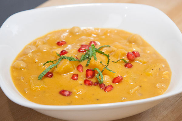 Peanut Butter, Chickpea and Pumpkin Soup with Mint and Pomegranate