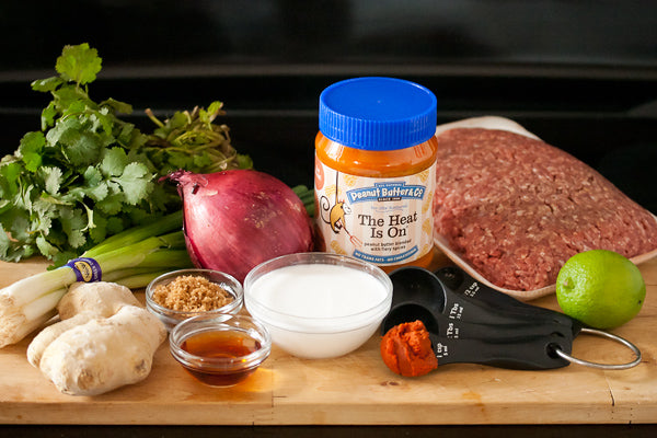 Ingredients coconut milk peanut butter lime juice curry paste onion garlic beef