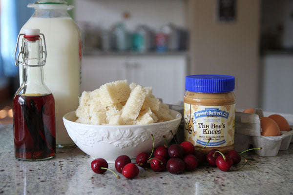 Ingredients bread cherries eggs milk vanilla The Bee's Knees peanut butter