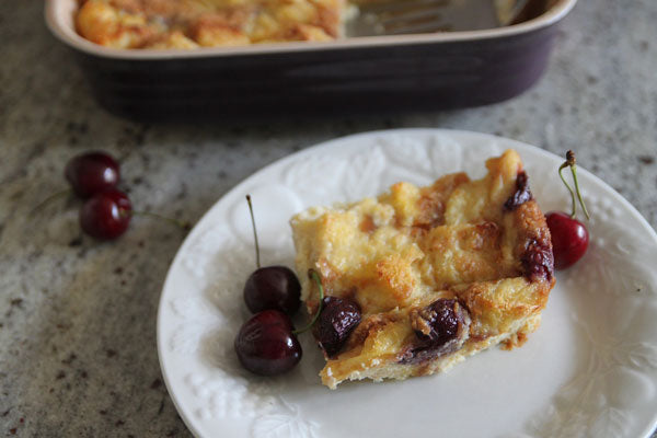 Peanut Butter and Cherry Bread Pudding
