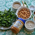Ingredients parsley cilanto onions peantu butter oats cumin coriander chick peas