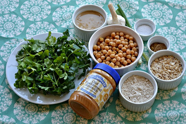 Ingredients parsley cilantro onions peanut butter oats cumin coriander garbanzo
