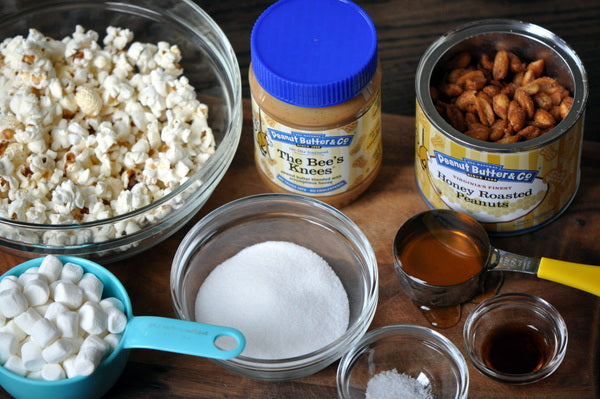 popcorn honey roasted peanuts peanut butter sugar salt vanilla butter cream