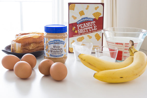 milk eggs sguar peanut butter White Chocolate Wonderful bananas pound cake peanut brittle