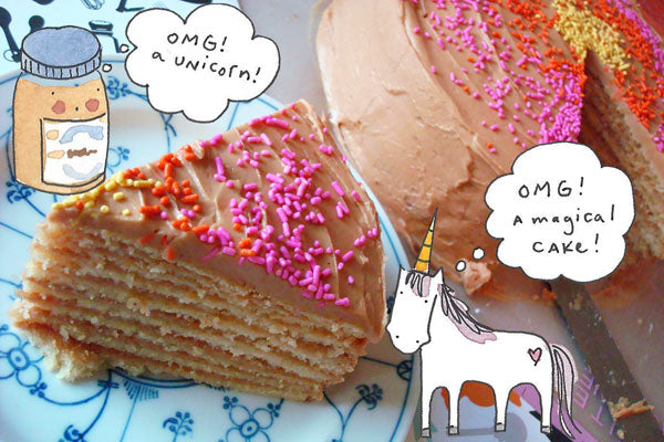10-Layer Cake with White Chocolate Peanut Butter Frosting Unicorn