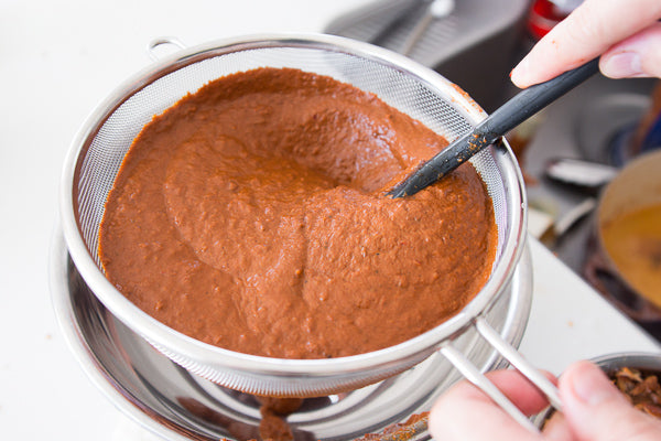 Strain the sauce through a mesh sieve to remove bits of chili skin.