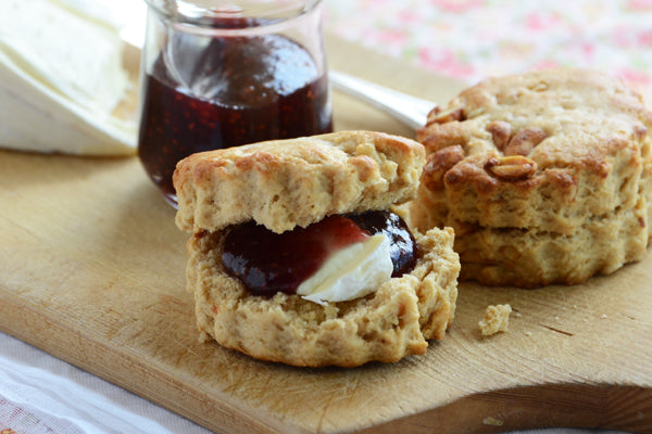 Peanut Butter Scone Sandwiches with Brie and Raspberry Preserves
