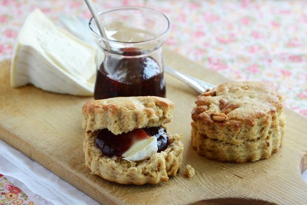 scones with preserves and brie